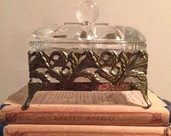 Vintage glass and metal ornate box