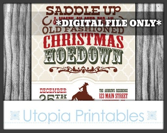 Christmas Hoedown Invitation Country Western Cowboy Theme Xmas Winter Old West Party Digital Printable Customized Rustic 5x7 Horse