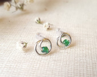 Silver Filled Wire Wrapped Seed Bead Stud Earrings