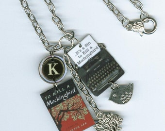 Book cover Necklace - typewriter key jewelry - To Kill a Mockingbird Harper Lee quote - literary book club gift - librarian writers gifts