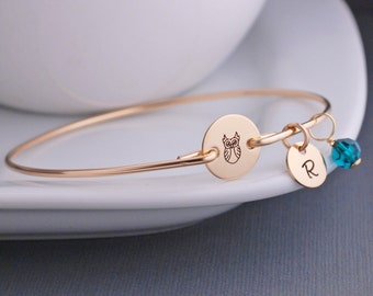 Owl, Owl Jewelry, Gold Owl Bracelet, Gold Bangle Bracelet Jewelry, Chi Omega Jewelry