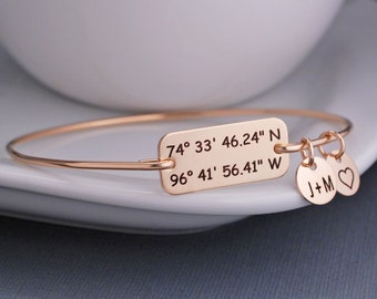 Gold Latitude Longitude Bracelet, Anniversary Gift for Wife, Mother's Day Gift for Her, Custom Coordinate Jewelry, Location Jewelry