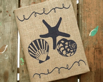 Beach Memories -  Burlap Journal  - Refillable Journal Cover  - Notebook included -  Lined or Blank - Seashell Journal - Seashell Notebook