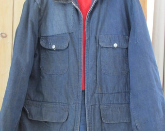 Vintage Mens Denim Barn Coat Grunge Work Jean Jacket Heavy Distressed Patched Trashed Just Right Hipster OLD Sears Trucker Fits Large