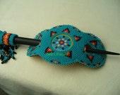 Native American Style Hairstick Barrette in Rosette stitch iin Cerulean and Fire colors