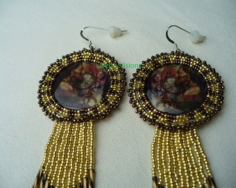 "Native American Style Rosette beaded ""More than a Nickle"" earrings in Gold and Bronze"