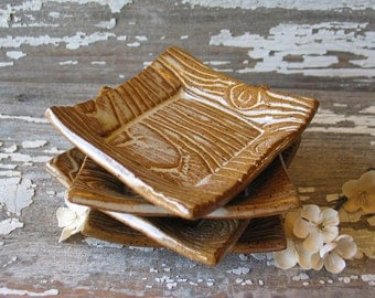 Faux Bois Square Dish - Wood Grain - Trinket Dish - Wedding Favor - Ring Bowl - Soy Dish