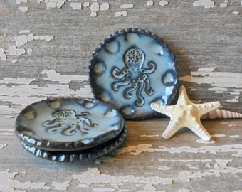 Octopus Round Dish - Tea Plate - Cone Incense -  Ring Dish - Jewelry Dish - Spoon Rest - Wedding Favor