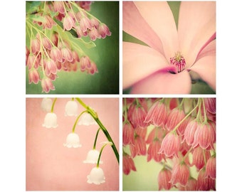 Flower Photography Set, Green and Pink Flower Wall Art, Large Wall Art, Floral Art, Flower Art Prints, Set of 4 Prints