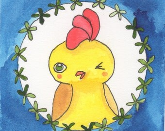 Funny Watercolor Painting, Chicken Coop Decor, Modern Country Decor, Chicken Lady,Gifts Under 30 for Him,Cubicle Art Gift,Chicken Lover Gift