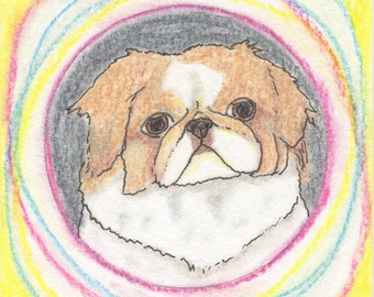 Shih Tzu Art Gift, Small Folk Art Dog Art Painting, Gifts for Dog Lovers, Tiny Art, Cute Dog Gifts, Dog Love, Gifts for Grandma, Dog Decor