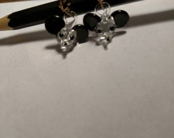 Adorable Vintage 1970s Spun Hand Blown Glass Mickey Mouse Earrings Pierced Gold Kidney Wires