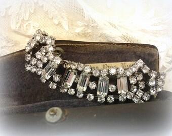 vintage rhinestone bracelet mid century rhinestone chain bracelet prong set rounds and octagons