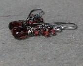 Garnet Earrings Cluster Earrings January Birthstone Earrings Oxidized Sterling Silver Earrings