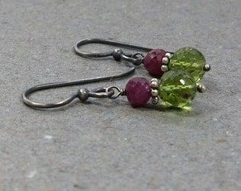Peridot, Ruby Earrings Lime Green August July Birthstone Oxidized Sterling Silver Earrings
