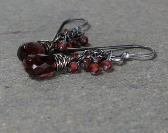 Garnet Earrings Red Gemstone Cluster January Birthstone Oxidized Sterling Silver Gift for Her