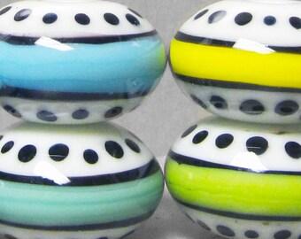 Stripey Saucers --Handmade Lampwork Beads