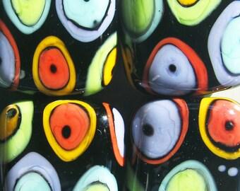 Mod Spot Pebbles --Handmade Lampwork Beads