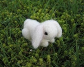 Needle Felted White Lop Eared Bunny Wool Figure