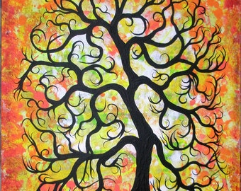 Tree of life, Original painting, tree painting, Abstract tree by Jordanka Yaretz