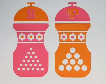 Hand Pulled A3 2 Colour Screen Print - Salt and Pepper Pink/Orange FREE WORLDWIDE SHIPPING