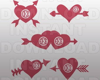 Monogram Heart SVG File,Valentines SVG File,Cupid SVG,Cutting Template-Vector Clip Art for Commercial & Personal Use Cricut,Cameo,Silhouette