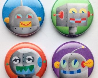 Robot Magnets, Set of Four, robot gift idea, robot kitchen magnets, robot magnet set