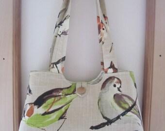 Handbag Purse Tote IPad Netbook Tote Shabby Birdwatcher in Linen Shoulderbag Antiquebasketlady