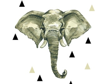 Watercolor Elephant Face + Triangles