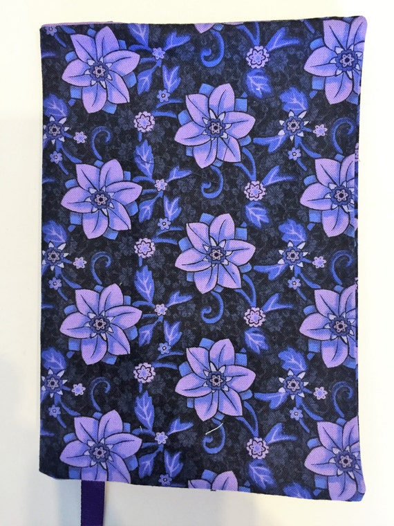 Book Cover Flower : Fabric paperback book cover purple flower