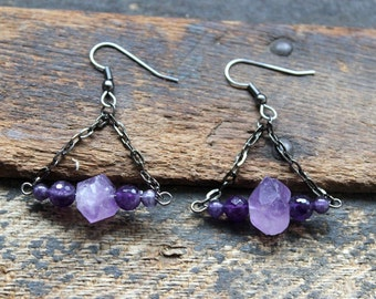 Everything to Everyone Amethyst Raw Crystal Point Earrings