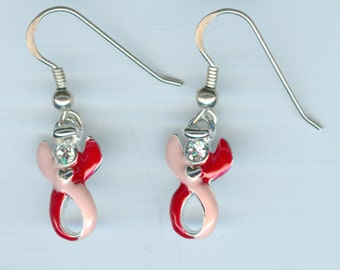 Fibromyalgia Awareness - Sterling Silver, Swarovski, Guardian Angel Pink/Red Ribbon French Hook Earrings - Raising Money to Find a Cure!!