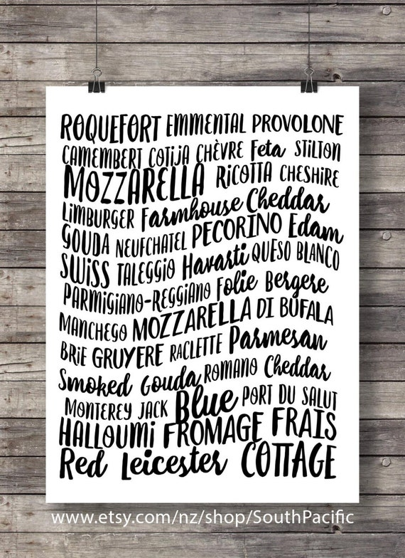 Cheese Types Of Cheese Printable Kitchen Wall Art