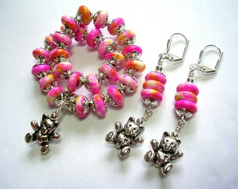 Yellow and pink teddy bear stretch bracelet Gemstone elastic bracelet earring set  Jade with silver plate leverback hooks wire wrapped