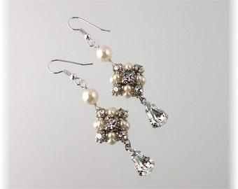 Rhinestone Wedding Earrings, Wedding Jewelry, Silvery Chandelier Earrings, Silver and Ivory Accessories