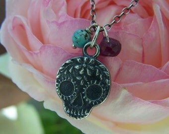 Day of the Dead Anne Choi sugar skull charm, faceted Amethyst onion,Arizona Turquoise, sterling silver  chain necklace