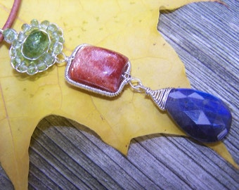 Peridot rondelle, Sunstone pillow, Labradorite briolette,sterling silver coil wrap, leather necklace