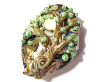 Earthy tree glass necklace, full moon focal bead pendant,'These Woods' lampwork glass bead, organic glass bead, orphan bead SRAJD, glassbead