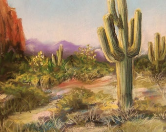 Arizona Landscape original pastel painting 9x12 FREE SHIPPING