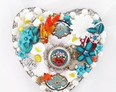 Half Off Sale Hand Mirror - Petite Floral Mosaic - Repurposed Jewelry - M001026
