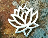 Lotus Flower Charm - Sterling Silver Lotus Necklace - Yoga Jewelry