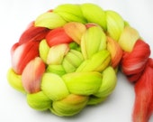 Flamingos On A Croquet Lawn  Hand Dyed Roving - Spinning Fiber - BFL - Falkland - Shetland - Targhee- Cheviot - Dyed to Order