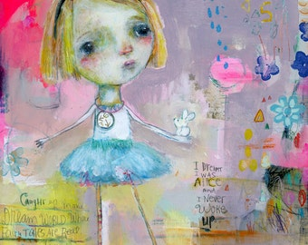 I dreamt I was Alice - mixed media art print by Mindy Lacefield