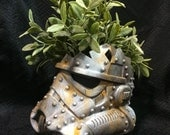 White Rusted Stormtrooper Helmet Planter Star Wars decor succulents Design a vinyl stormtrooper