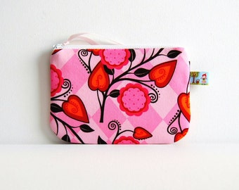 Small Zipper Pouch Coin Purse Flora in Petal Andalucia Woman Teen Cute Pink Pouch