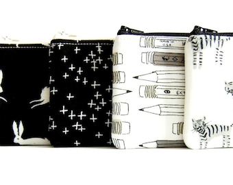Long Zipper Pouch, Pencil Pouch, Pencil Case, Kids, School Supplies, Women, Coin Purse, Organizer Black and White Cotton and Steel