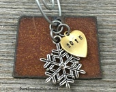 COLORADO | Rustic 2016 Christmas Ornament | Cowboy Hat Boot Pickup Truck Camper Trailer Charms, Handstamped Brass Tag