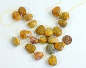 Gold Butterscotch Organic Jasper, Chicolet Faceted Shape, Top Drilled, 20 pieces