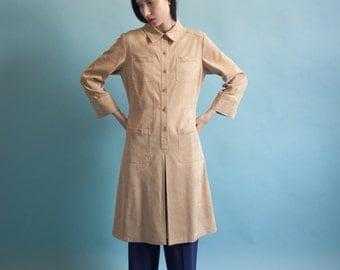 tan microsuede dress / tan shift dress / vtg 80s dress / s / 686d / B3