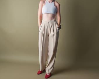 GIORGIO ARMANI high waist trousers / pleated waist / tailored pants / s / m / 962t